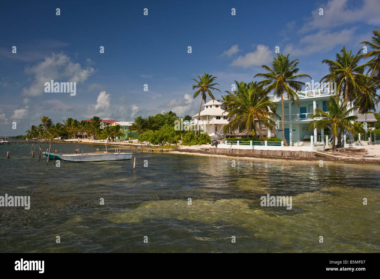 CAYE CAULKER BELIZE Hotels on the beach - Stock Image
