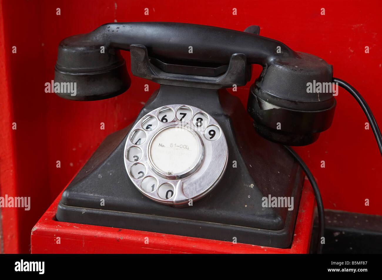 Old Public Telephone Founders Heritage Park Nelson South Island New Zealand - Stock Image
