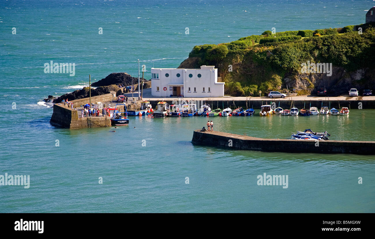 Summer time at Boatstrand Harbour, Copper Coast, County Waterford, Ireland - Stock Image
