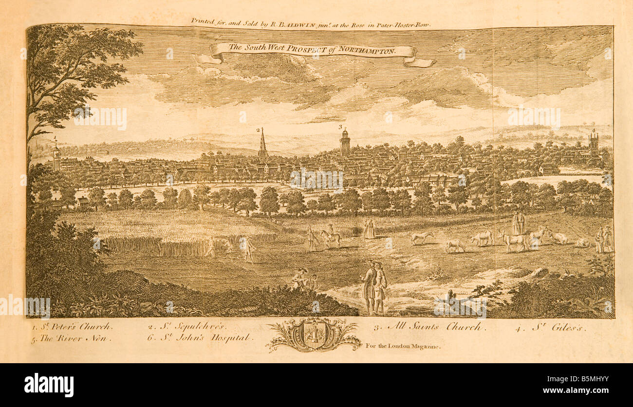 And old 18th century engraving of the city of Northampton England created in 1761 for the London Magazine. - Stock Image