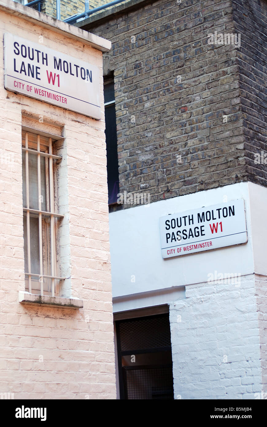 South Molton Lane London street signs - Stock Image