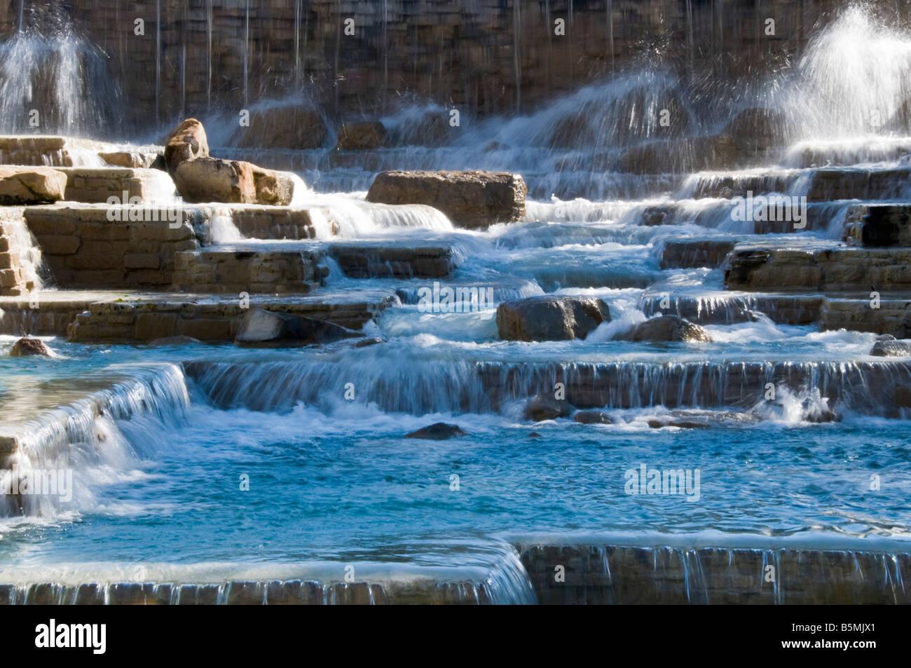 Waterfall fountains Hemisfair Park, San Antonio, Texas. - Stock Image