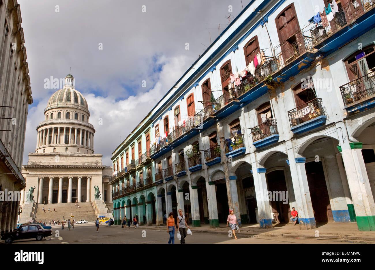 Teniente Rey Street with Capitolio Havana Cuba - Stock Image