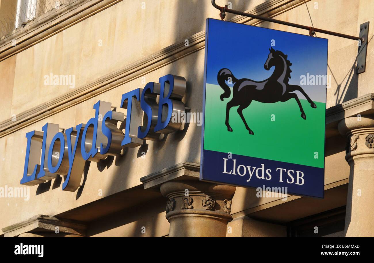 Lloyds TSB bank black horse sign hanging outside a Warwickshire high street branch - Stock Image