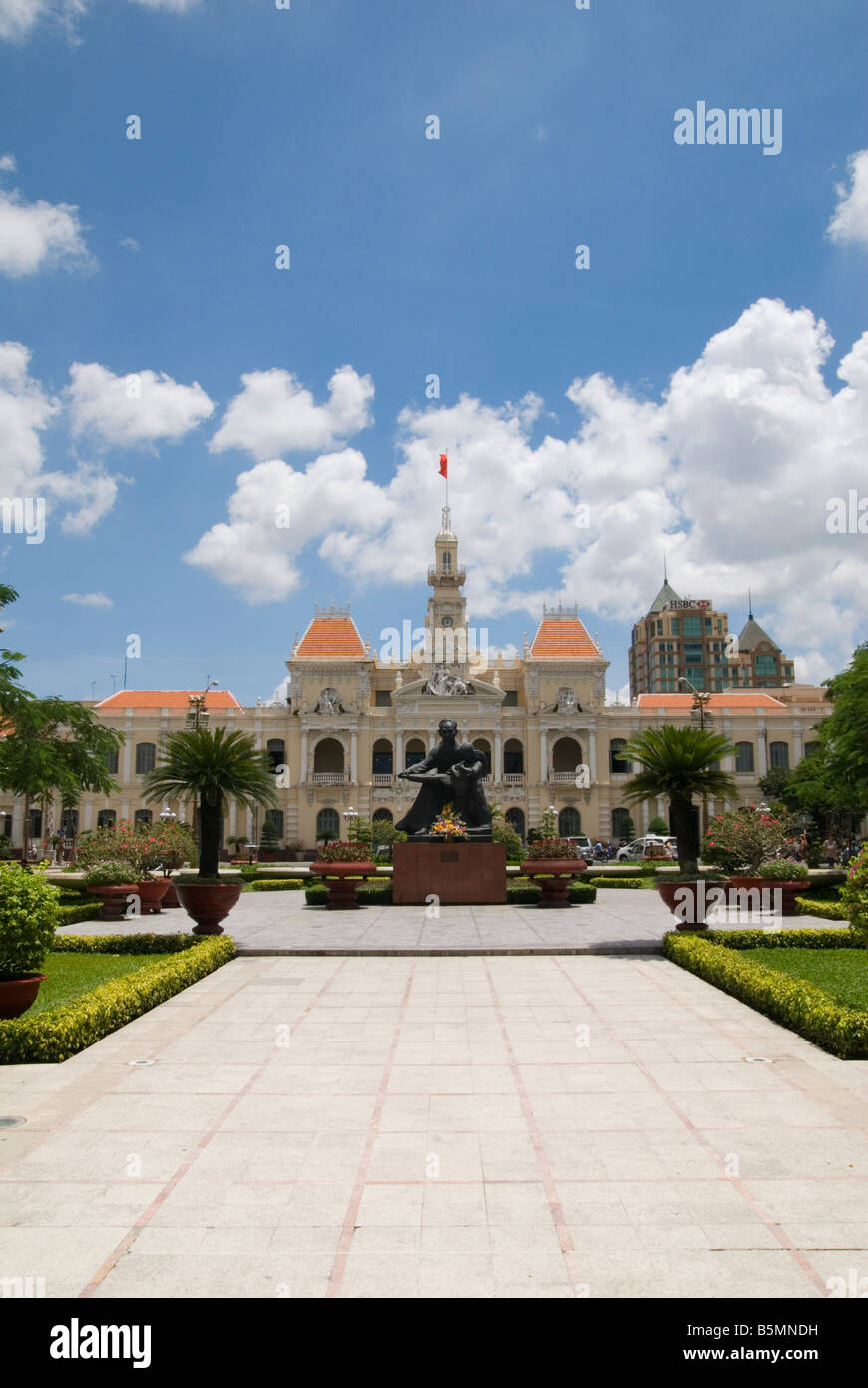Ornate facade of the People's Committee Building, Ho Chi Minh City Hall, Ho Chi Minh City, Vietnam - Stock Image