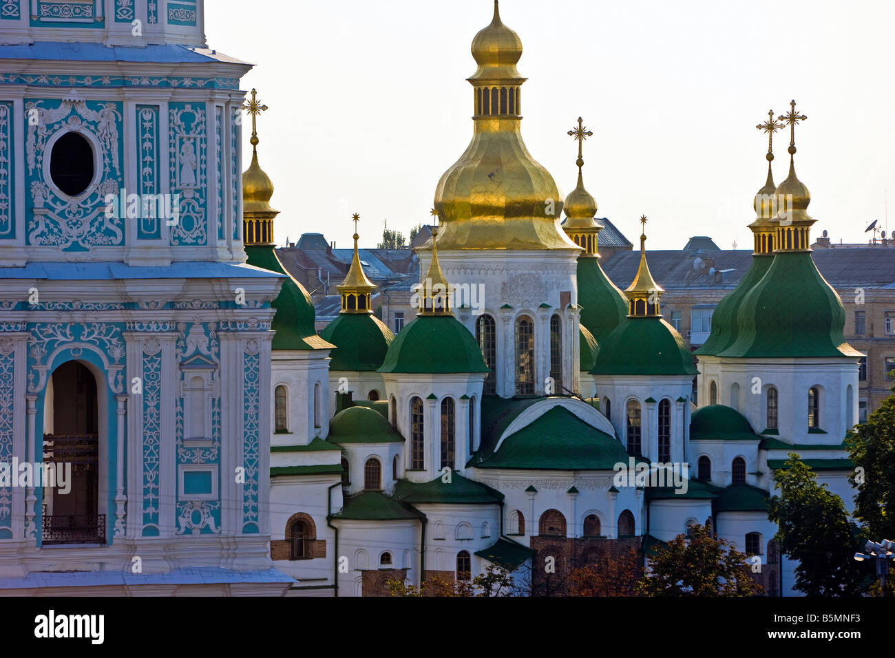 Green roof and gold domes of St Sophia Cathedral, Kyiv, Kiev, Ukraine, Eastern Europe - Stock Image