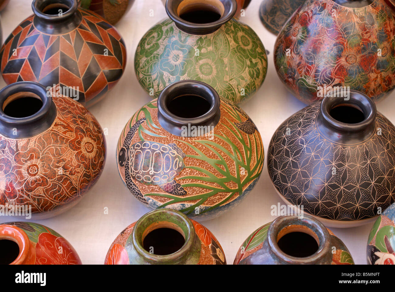 Pottery from San Juan de Oriente in the Pueblos Blancos or White Towns, Nicaragua - Stock Image