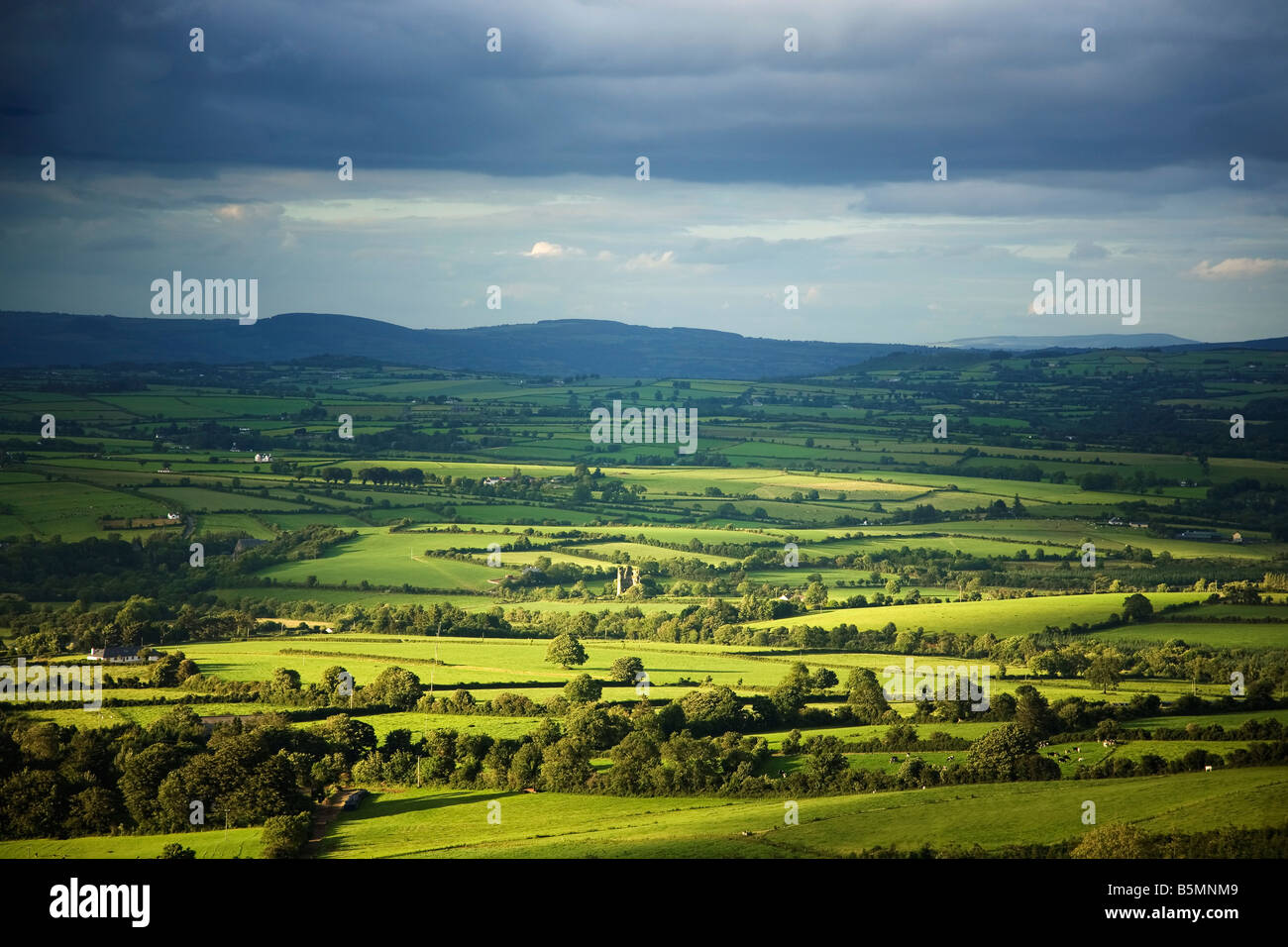Pastoral Fields and Distant Castle Ruin Near Clonea, Viewed from Croghaun Hill,  County Waterford, Ireland - Stock Image