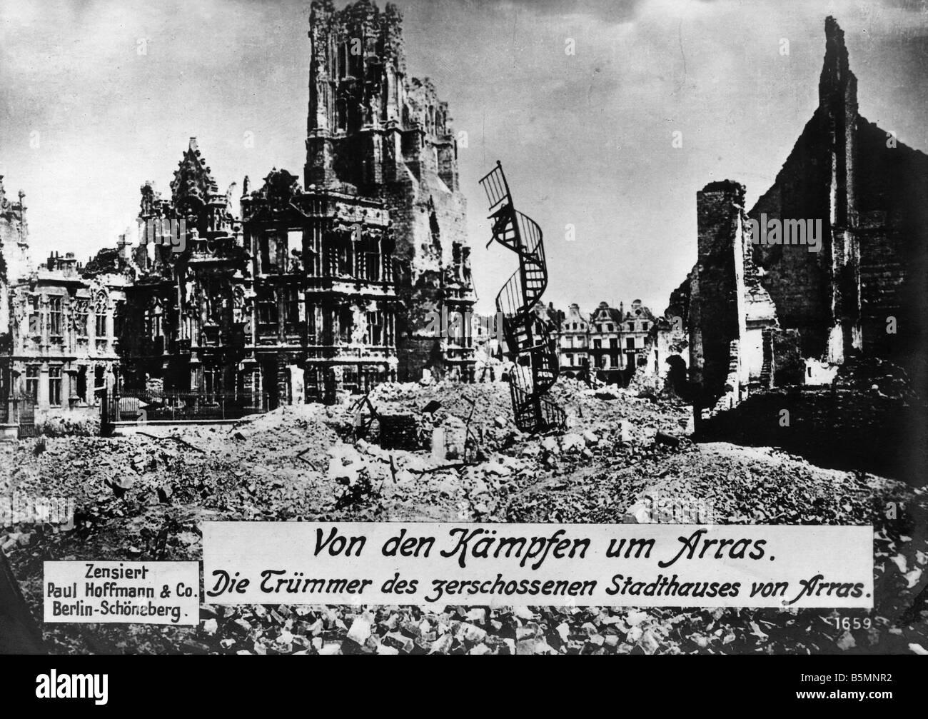 5FK A26 G1 1918 E Arras Destroyed Town House WW I 1918 Arras Dep Pas de Calais France town house The ruins of the - Stock Image