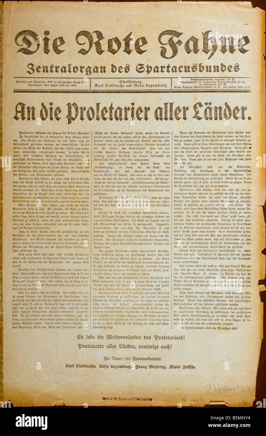 8 1918 11 10 E1 2 E Die Rote Fahne Newspaper Berlin 1918 Revolution 1918 19 Berlin On 10 November 1918 the newspaper - Stock Image