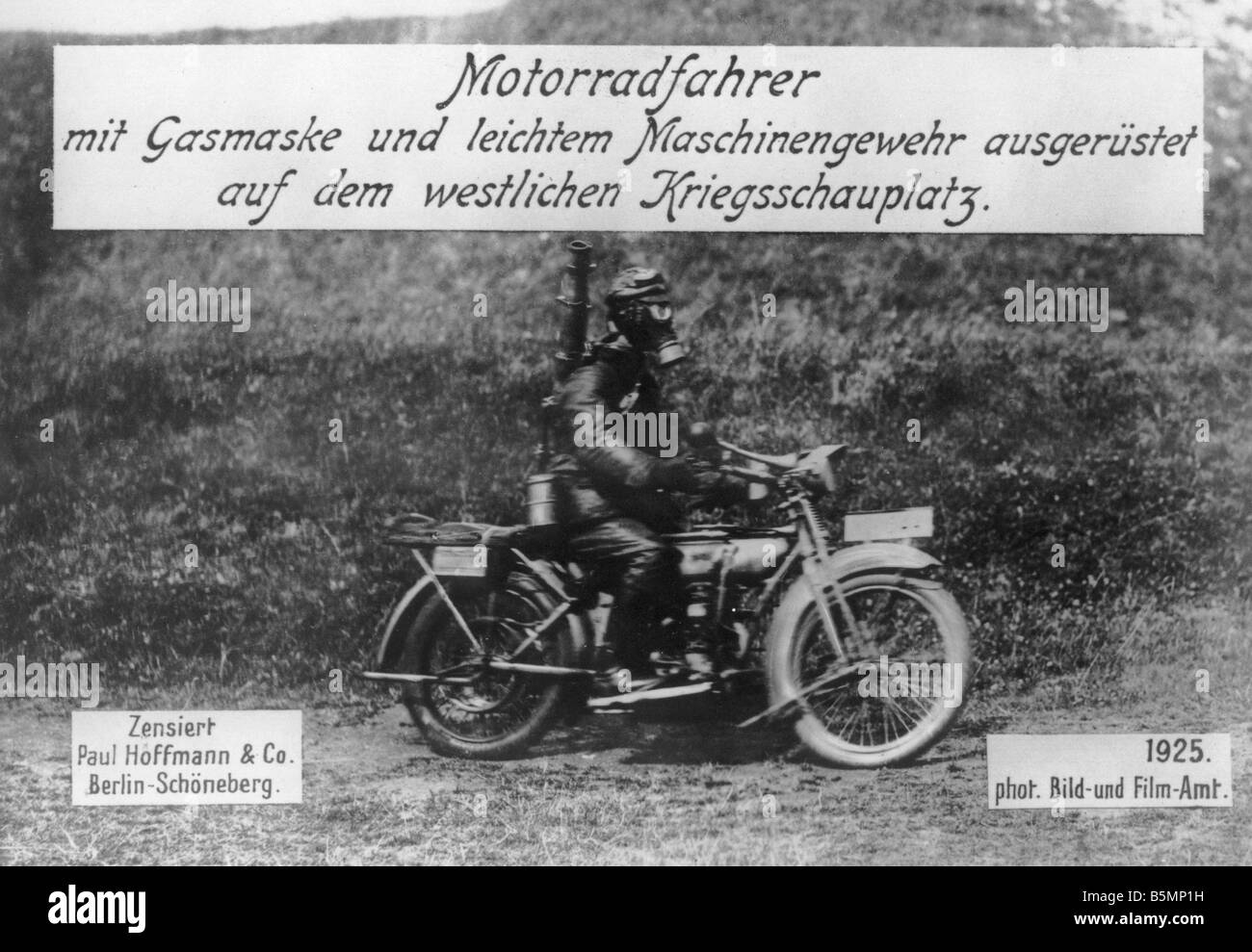 Motorcyclist at the Western Front World War I 1914 18 Western Front Motorcyclist with gas mark and light machine - Stock Image