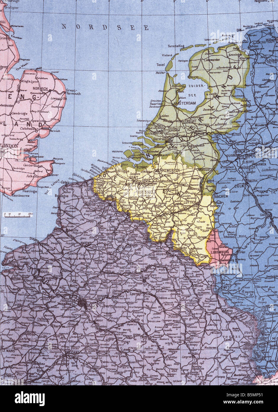Map of Western frontline 1915 First World War Western Front Map of Western war zone Netherlands Belgium North of - Stock Image