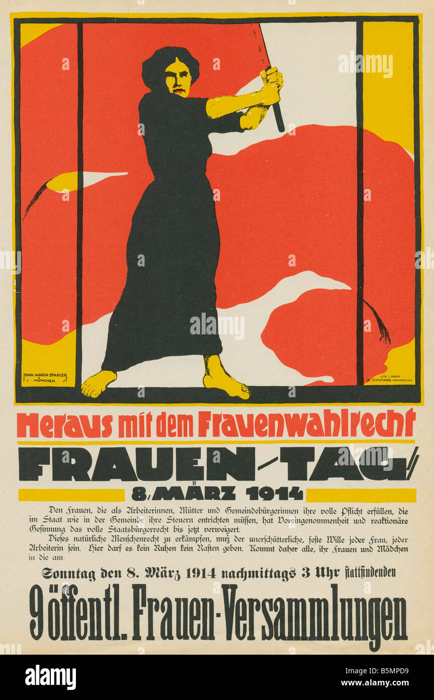 9 1914 3 8 E1 Poster for Women s Day 8 March 1914 German Empire Women s Suffrage Rote Woche Red Week 8 15 MarchStock Photo