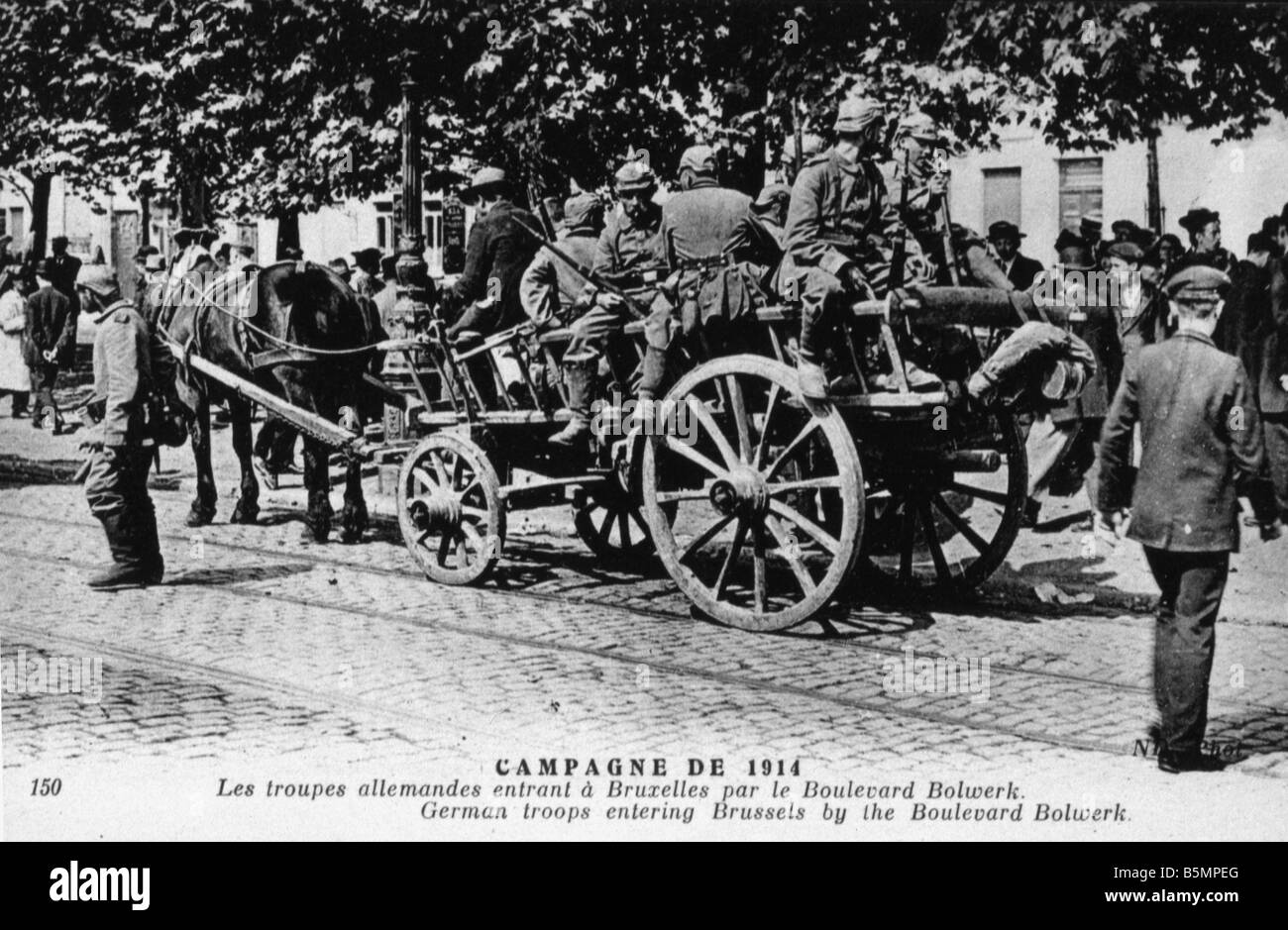 9 1914 8 20 A1 E WW1 Invasion of Ger troops in Brussels World War 1 Western Front Invasion of German troops in Brussels - Stock Image