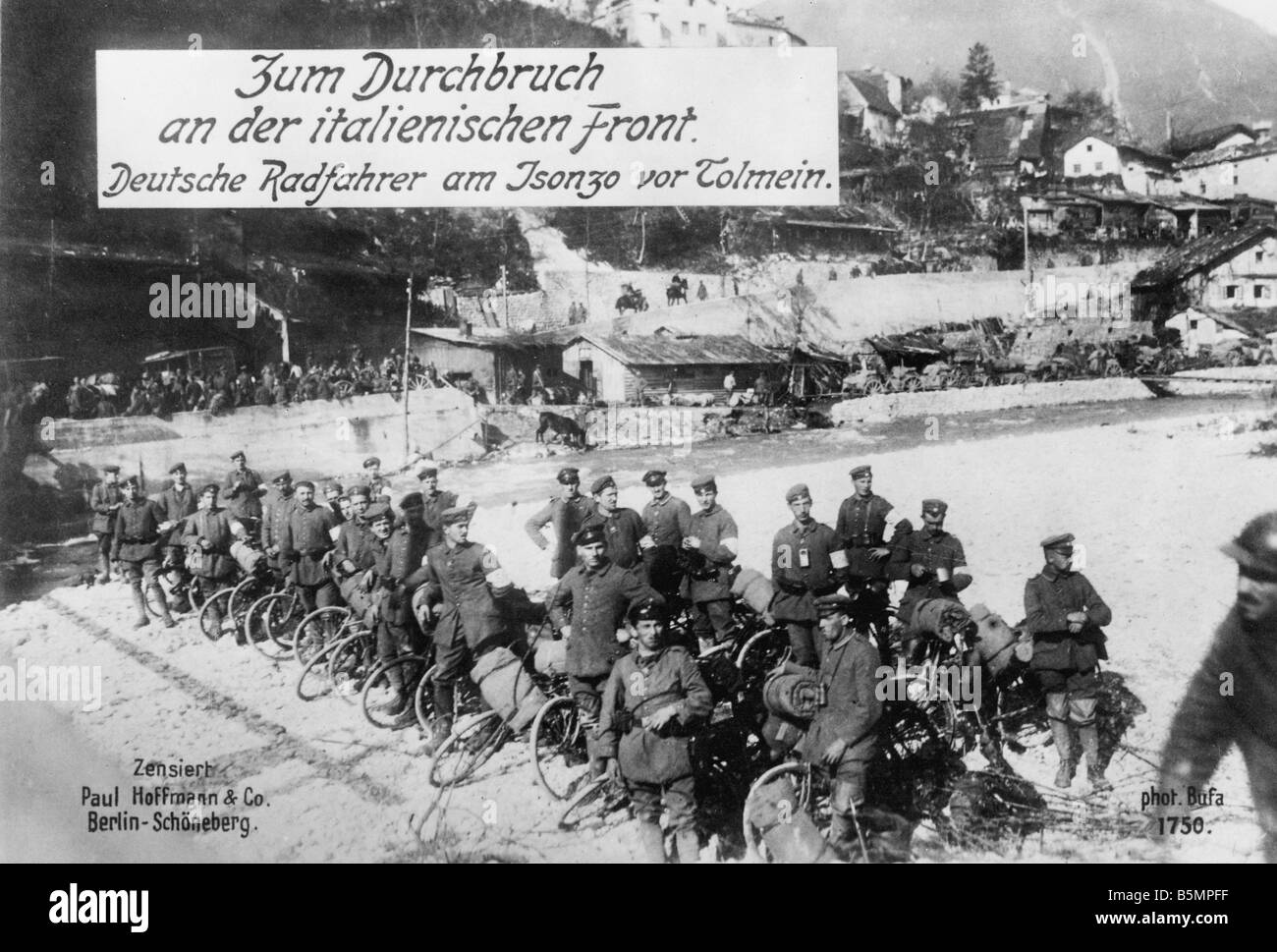 9 1915 0 0 A3 2 E Isonzo battles Ger troops at Tolmein World War 1 Italian Front Isonzo battles 1915 17 Battles - Stock Image