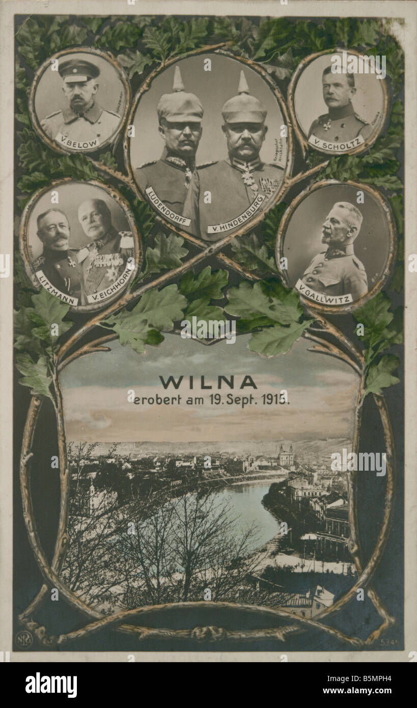 9 1915 9 19 A1 Conquest of Vilnius 1915 Prop Postcard First World War 1914 18 Eastern Front Conquest of Vilnius - Stock Image