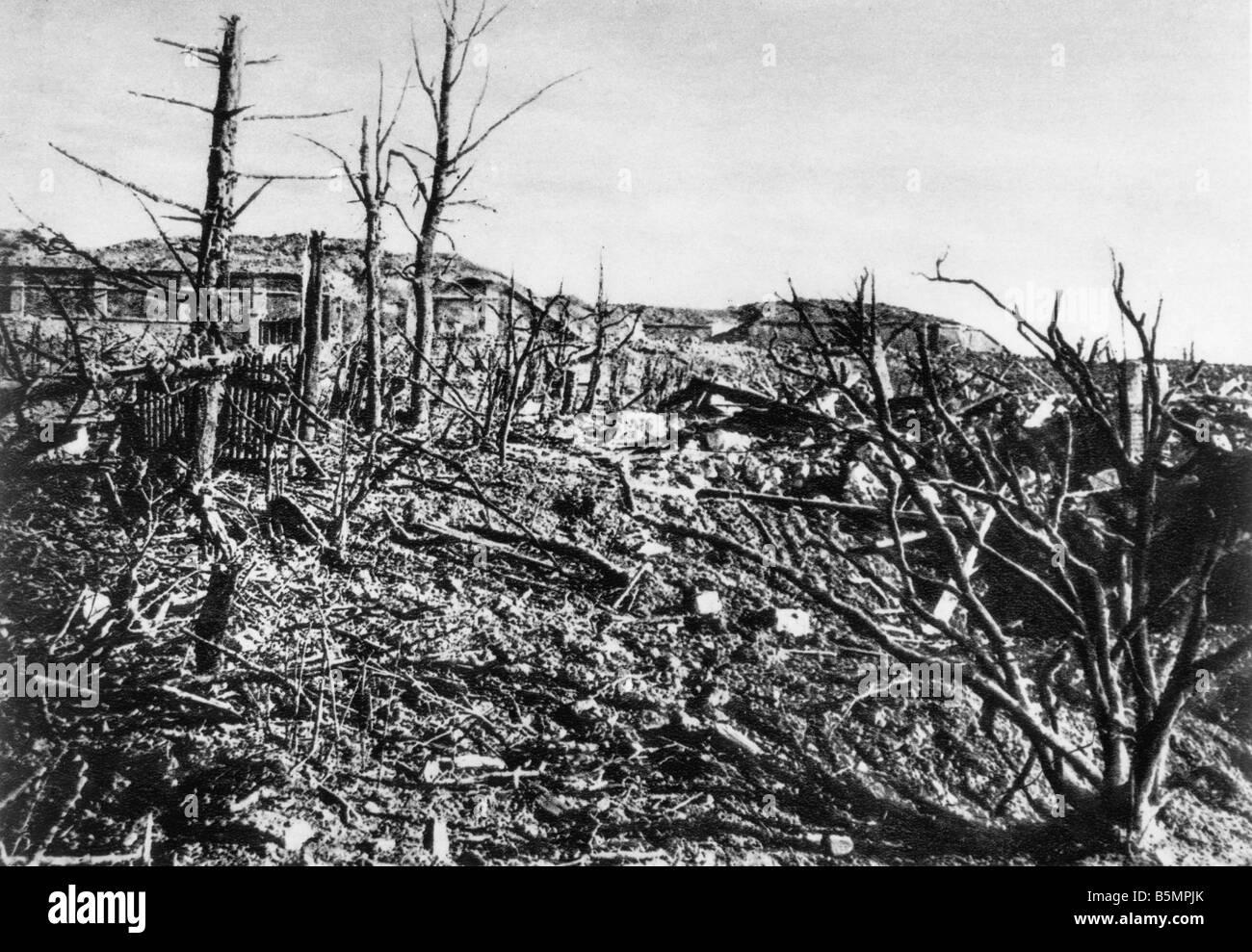9 1916 3 15 A1 E Battle near Verdun View of Fort Vaux World War I Western Front Battle near Verdun 1916 View of Stock Photo