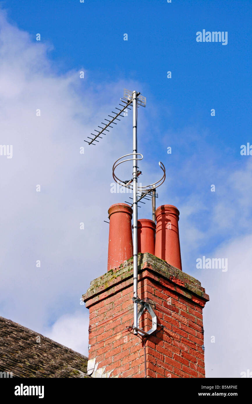 Chimney with Aerials - Stock Image