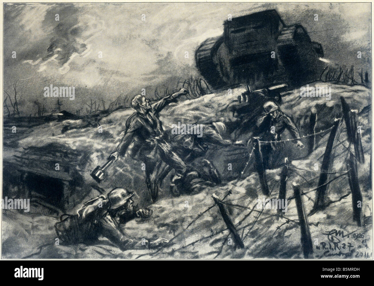9 1917 11 20 A1 2 World War I Tank battle Cambrai Mattscha First World War 1914 18 Western Front Tank battle at - Stock Image