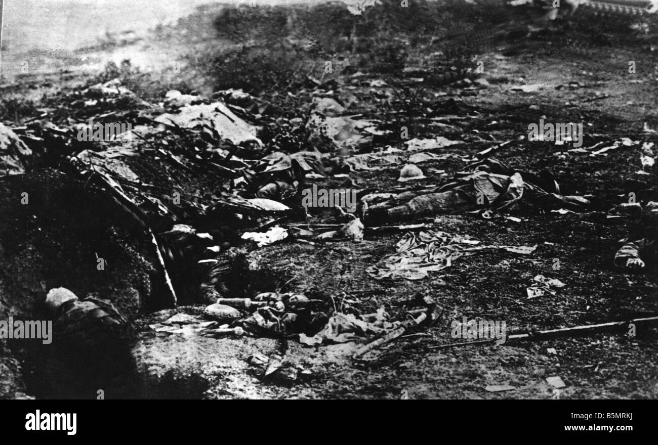 WW1 French trenches 1918 World War 1 Western Front German major offensive March July 1918 French trenches after - Stock Image