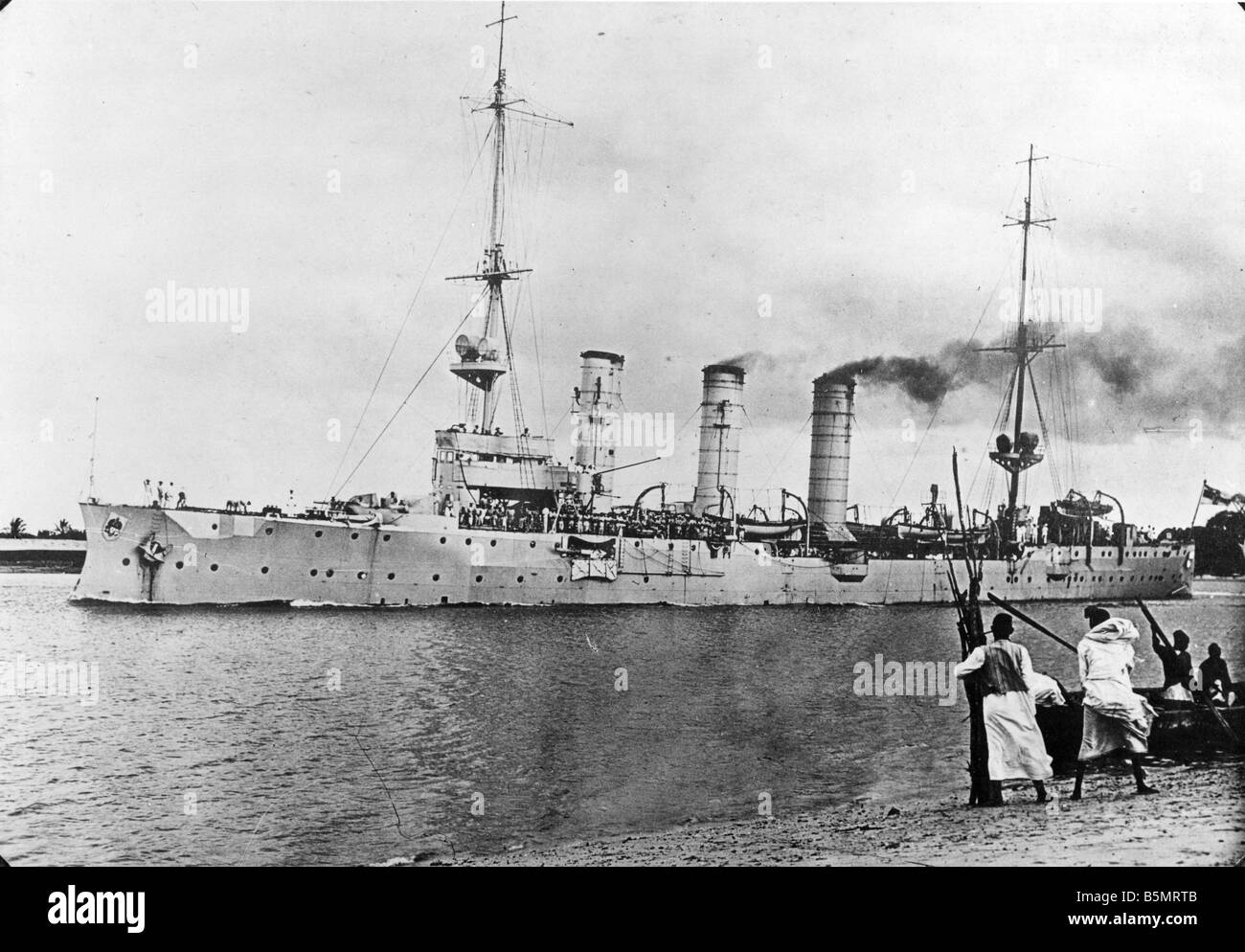 9AF 1914 0 0 A1 E Cruiser by coast of German East Africa World War I War in the colonies German East Afica today Tanzania German Stock Photo
