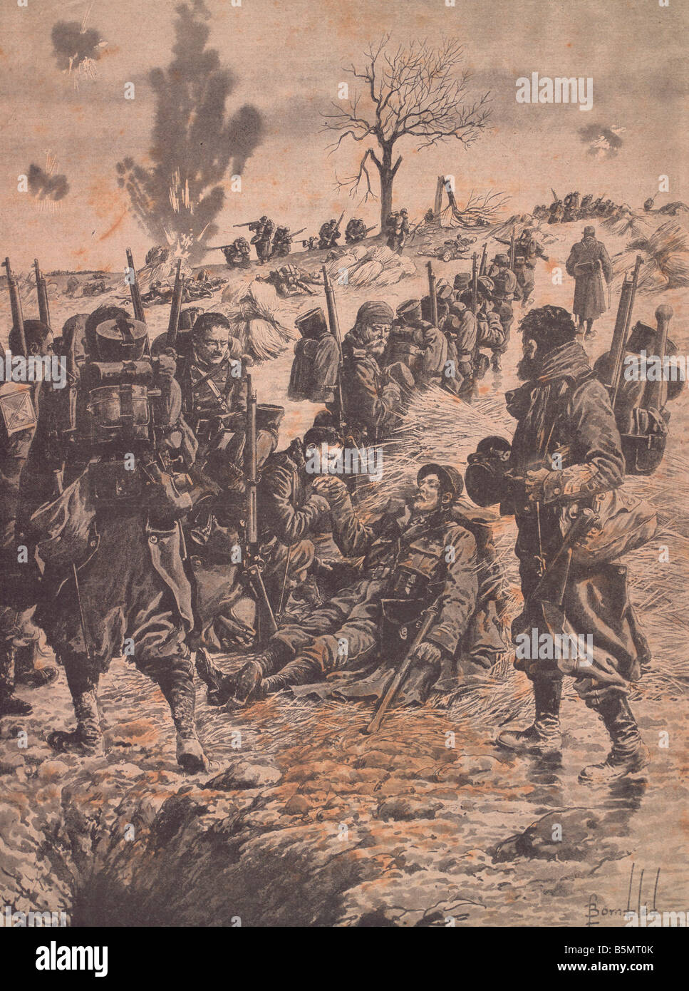 9FK 1915 1 0 A2 E Tribute to a fallen Fr soldier 1915 World War 1 France Hommage au lieutenant mort Magazine illustration - Stock Image