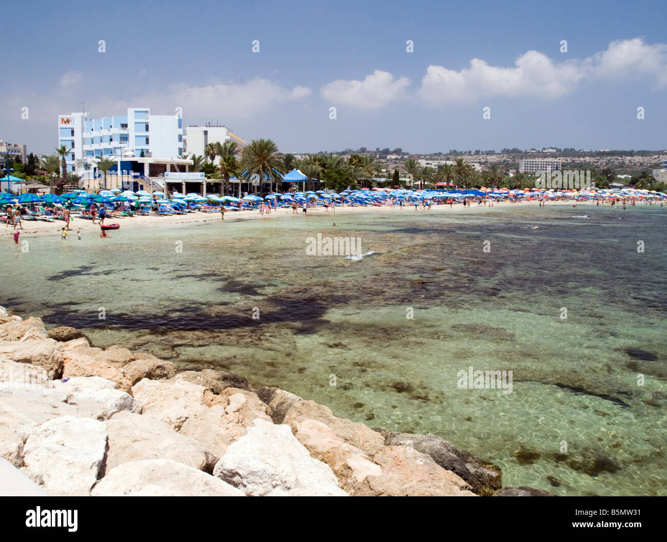 View of the beach hotel in Agia Napa Cyprus Stock Photo