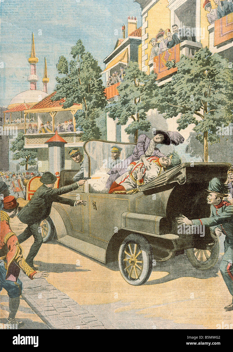 9OE 1914 6 28 A5 Assassination Franz Ferdinand Sarajevo Prehistory of the 1st World War Assassination of the Austro - Stock Image