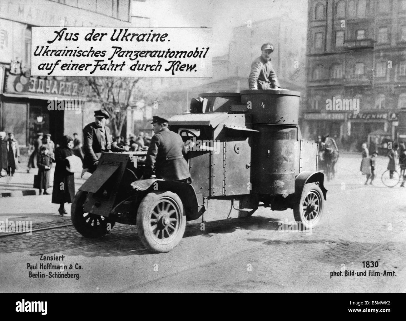 9RD 1917 0 0 A2 E Tank in Kiev c 1917 Great War 1914 18 Ukrainian Tank in Kiev Photograph c 1917 - Stock Image