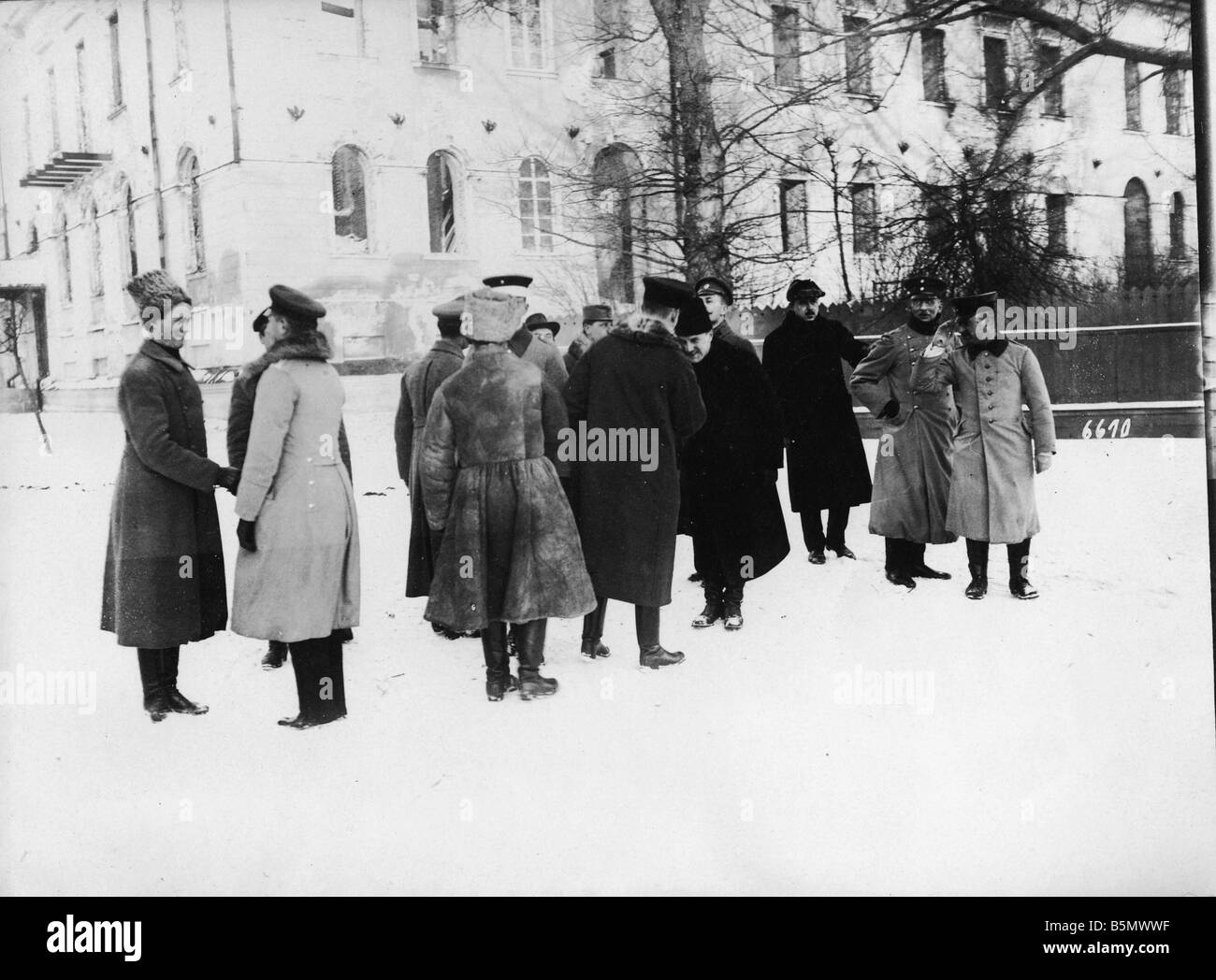 9RD 1918 2 9 A1 1 Ukrainian Delegation a Ger officers World War 1 1914 18 Peace negotiation in Brest Litowsk and - Stock Image
