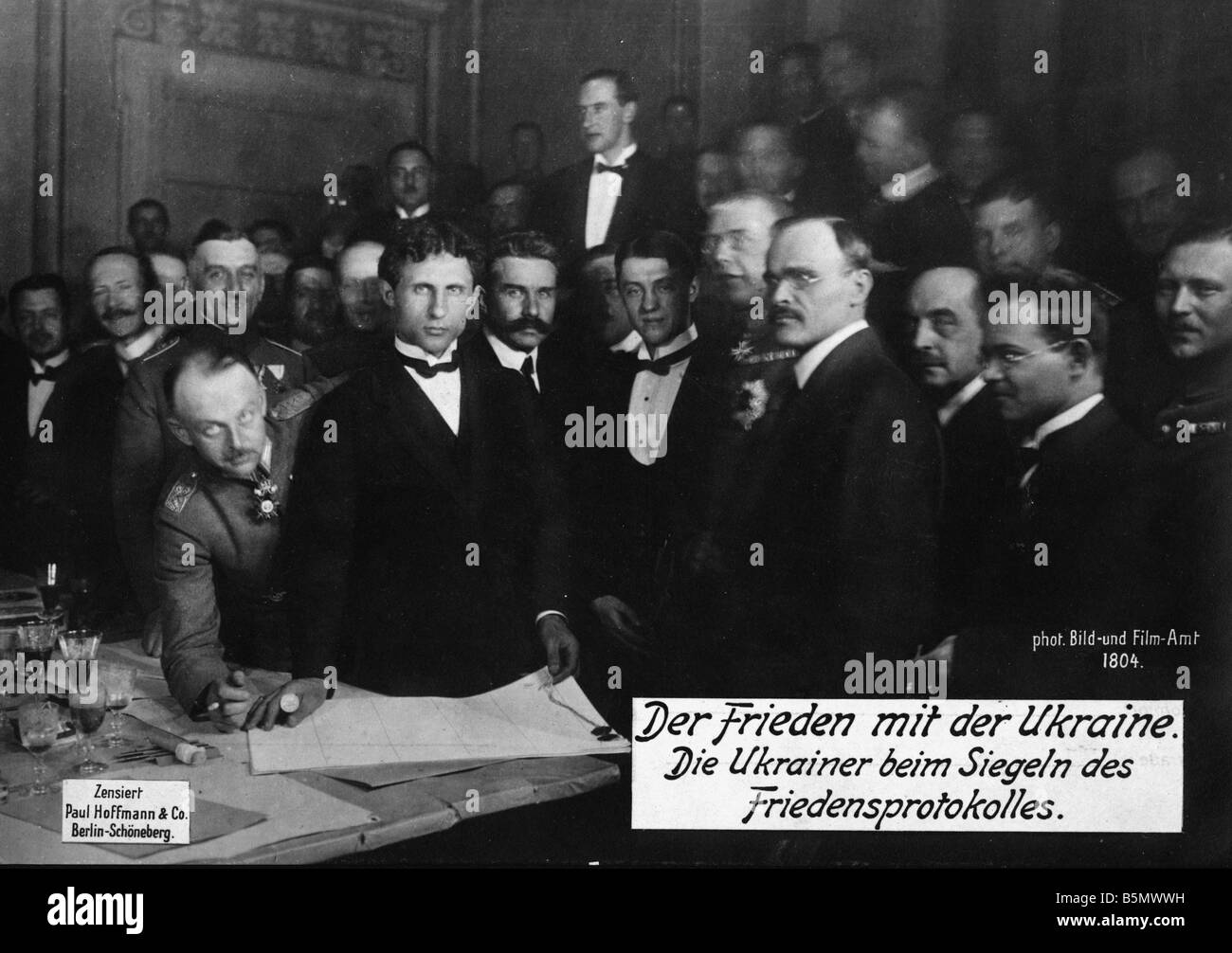 9RD 1918 2 9 A1 2 Ukrainian Delegation 1918 World War 1 1914 18 Peace negotiations in Brest Litowsk and separate - Stock Image