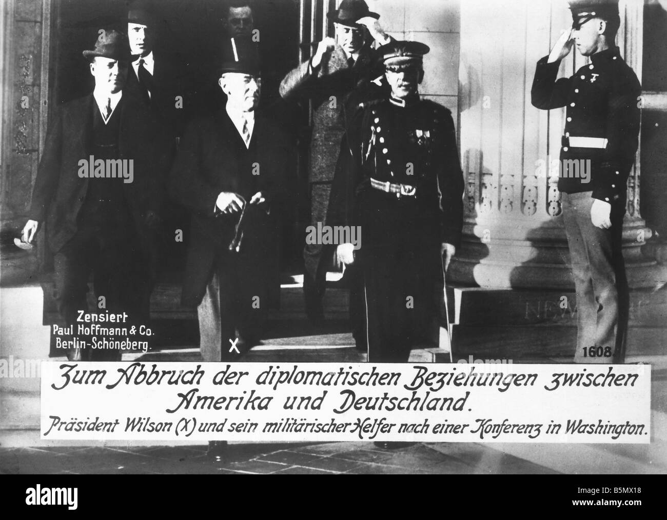 9US 1917 2 3 A1 E WW1 Break of dipl relations Ger Emp World War 1 USA 1917 18 Break off of diplomatic relations - Stock Image