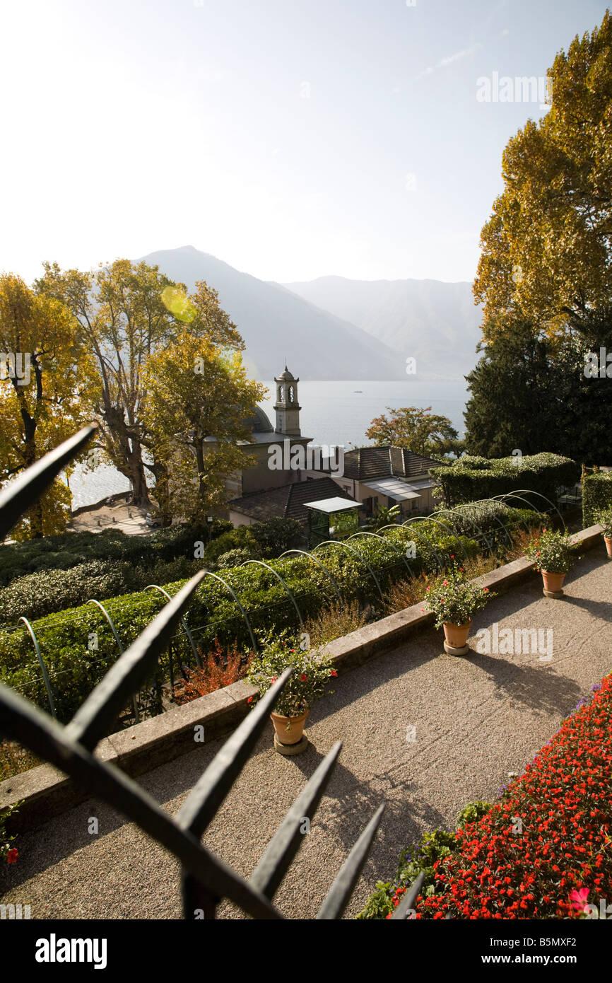 Villa Carlotta, view on lake Com from it\'s garden terrace. Tremezzo ...