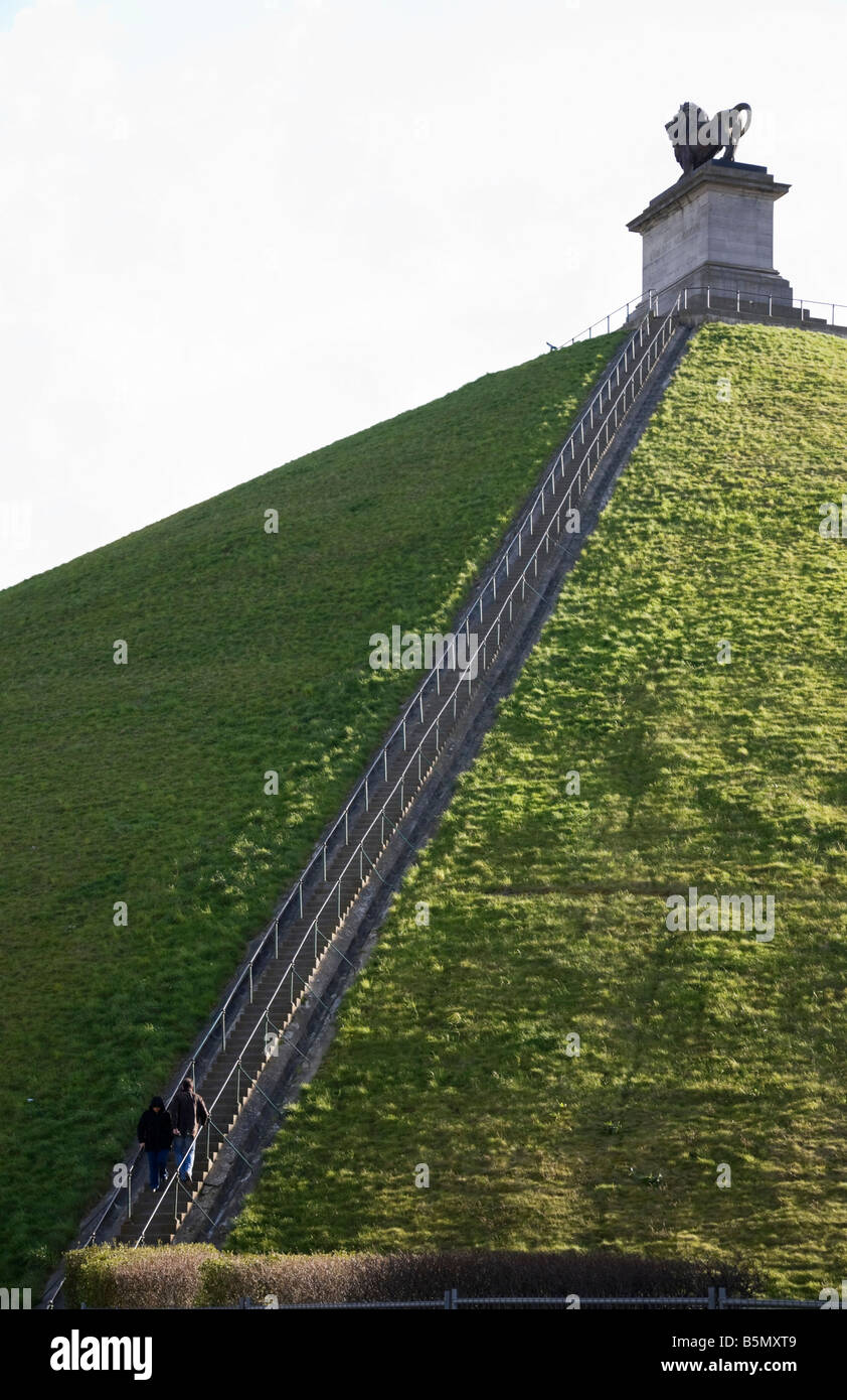 Flight of steps to the top of the Lion's Mound hill ( Butte du Lion's) at the site of the Battle of Waterloo. - Stock Image