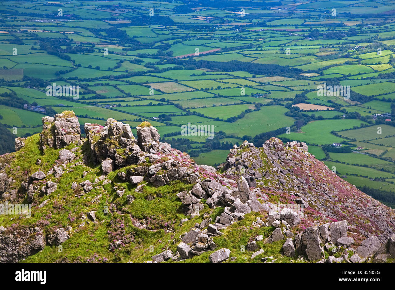 Pastoral Fields from above Coumshingaun Lake, Comeragh Mountains, County Waterford, Ireland - Stock Image
