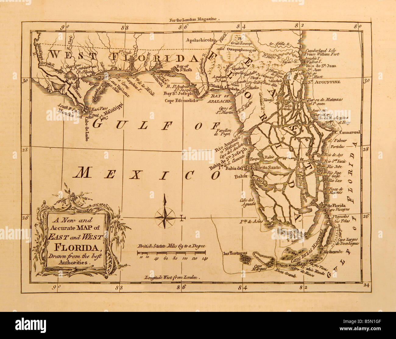 An Old Map Of The State Florida In America Made 1764 For London
