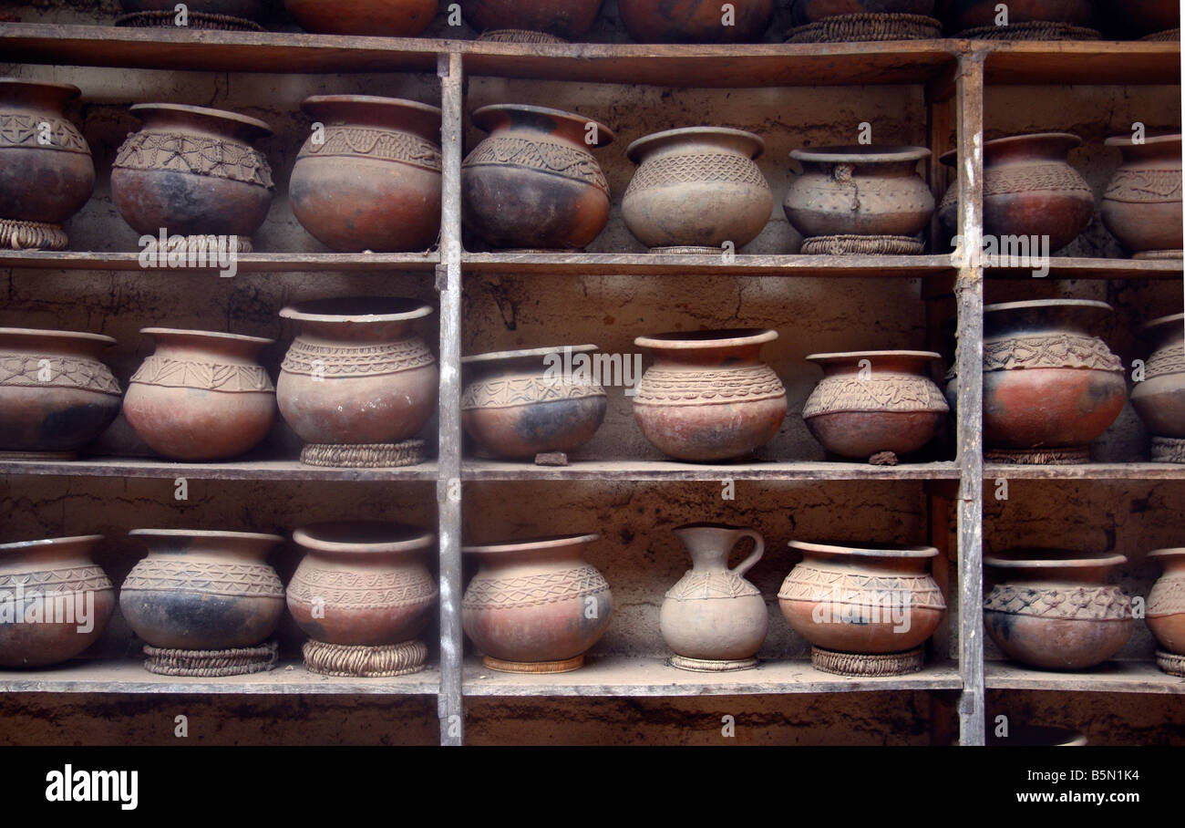 Ceramic pots on display at Prespot pottery works Bamessing Northwest Province Cameroon West Africa Small industry - Stock Image