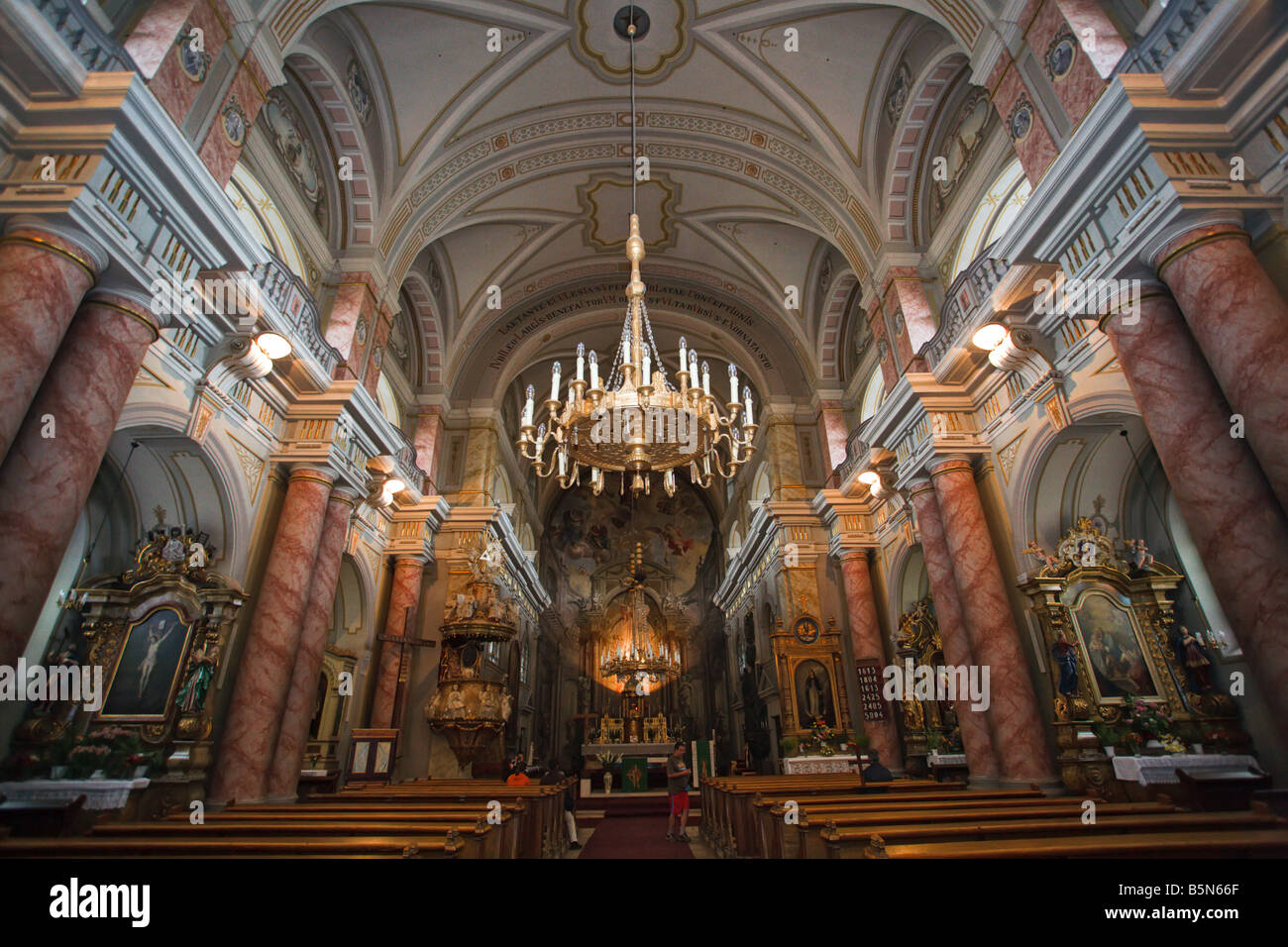 Interior of the catholic sibiu church, transylvania, romania - Stock Image