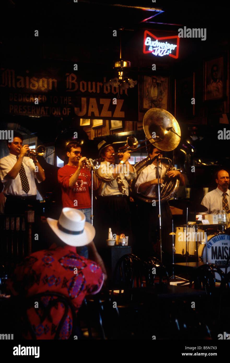 Traditional Jazz band in Mason Bourbon bar Bourbon street New Orleans USA - Stock Image
