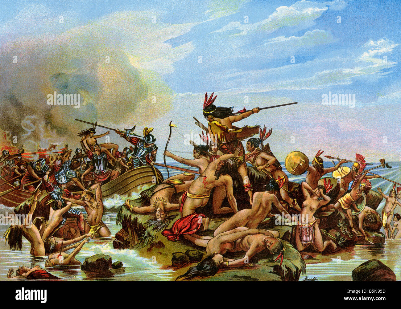 Battle of Santa Cruz the first bloodshed in the New World. Color lithograph - Stock Image