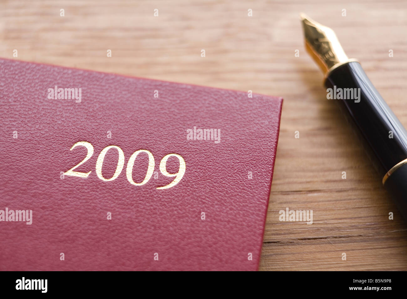 Red Leather 2009 Diary And Fountain Pen On Wooden Counter - Stock Image