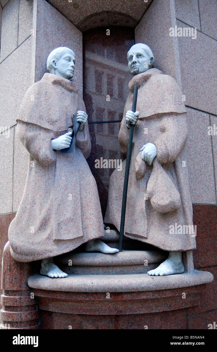 Statue of two monks - Stock Image
