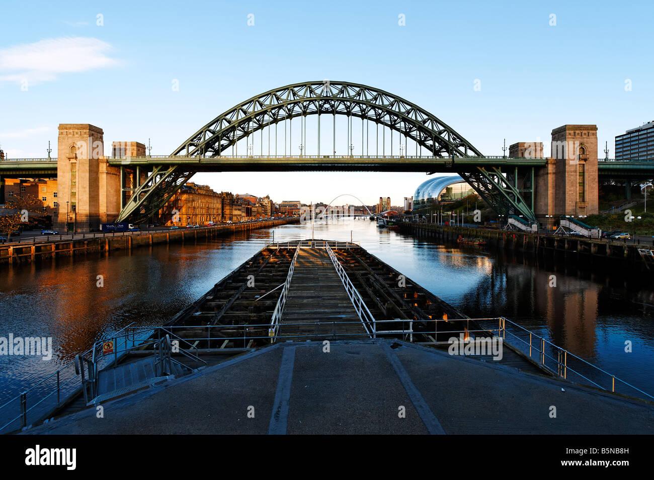 View of Tyne Bridge from Swingbridge - Stock Image