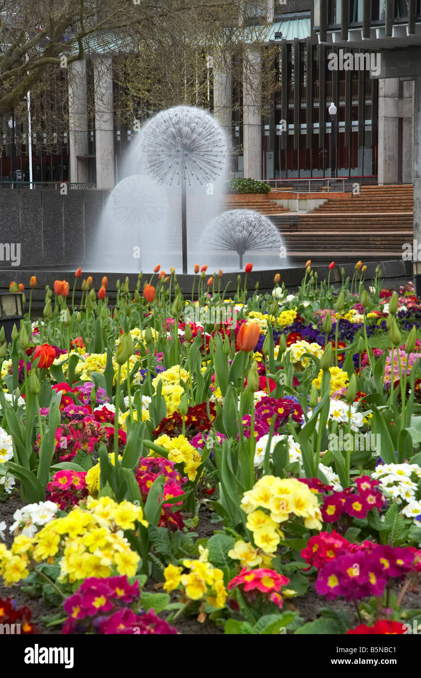 Flowers Victoria Square and Town Hall Fountain Christchurch Canterbury South Island New Zealand - Stock Image