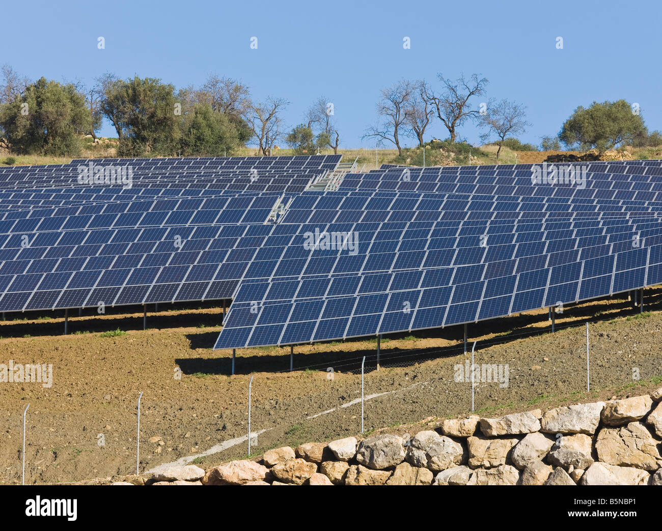 Photovoltaic or solar cells used to collect solar energy, Casabermeja, Spain - Stock Image