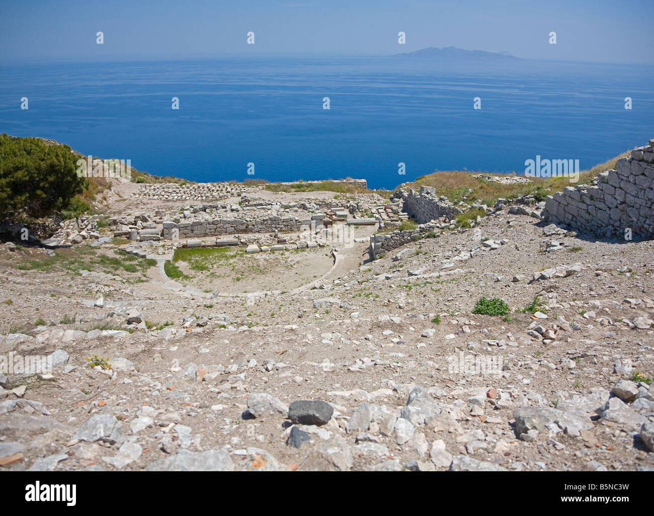 Ancient Greek theatre in Ancient Thira town, Santorini Island - Stock Image