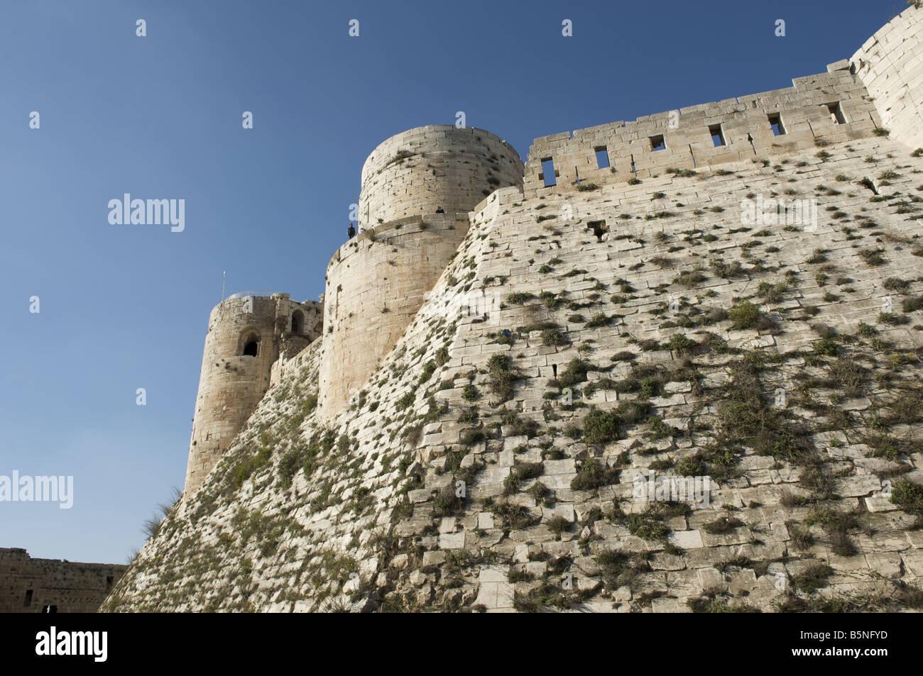 Krak Des Chevaliers, Qalaat Al Hosn, Crusader castle, Syria. - Stock Image