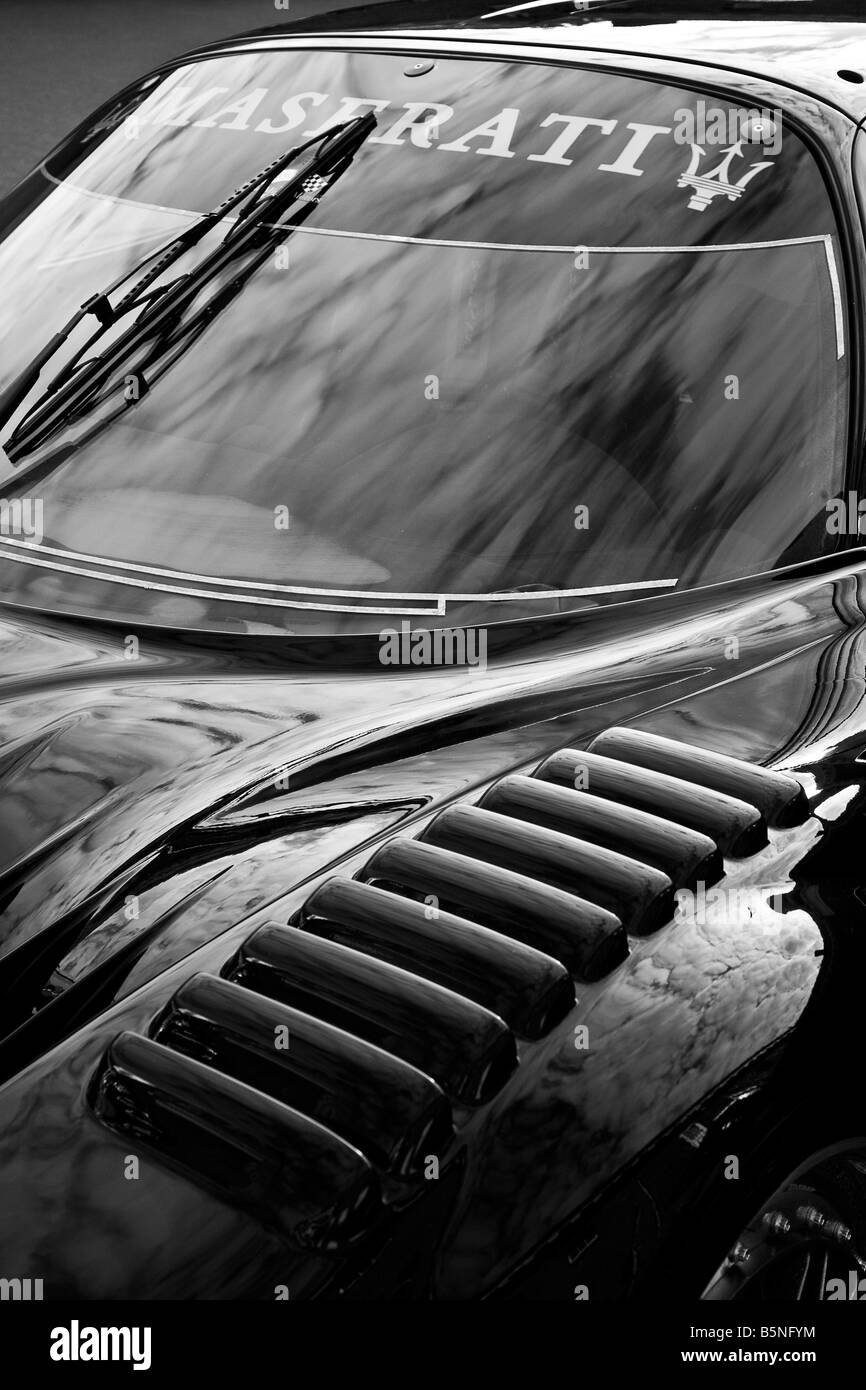 2007 Maserati MC12 detail close-up of the front wing and windscreen at Goodwood Festival of Speed, Sussex, UK. - Stock Image