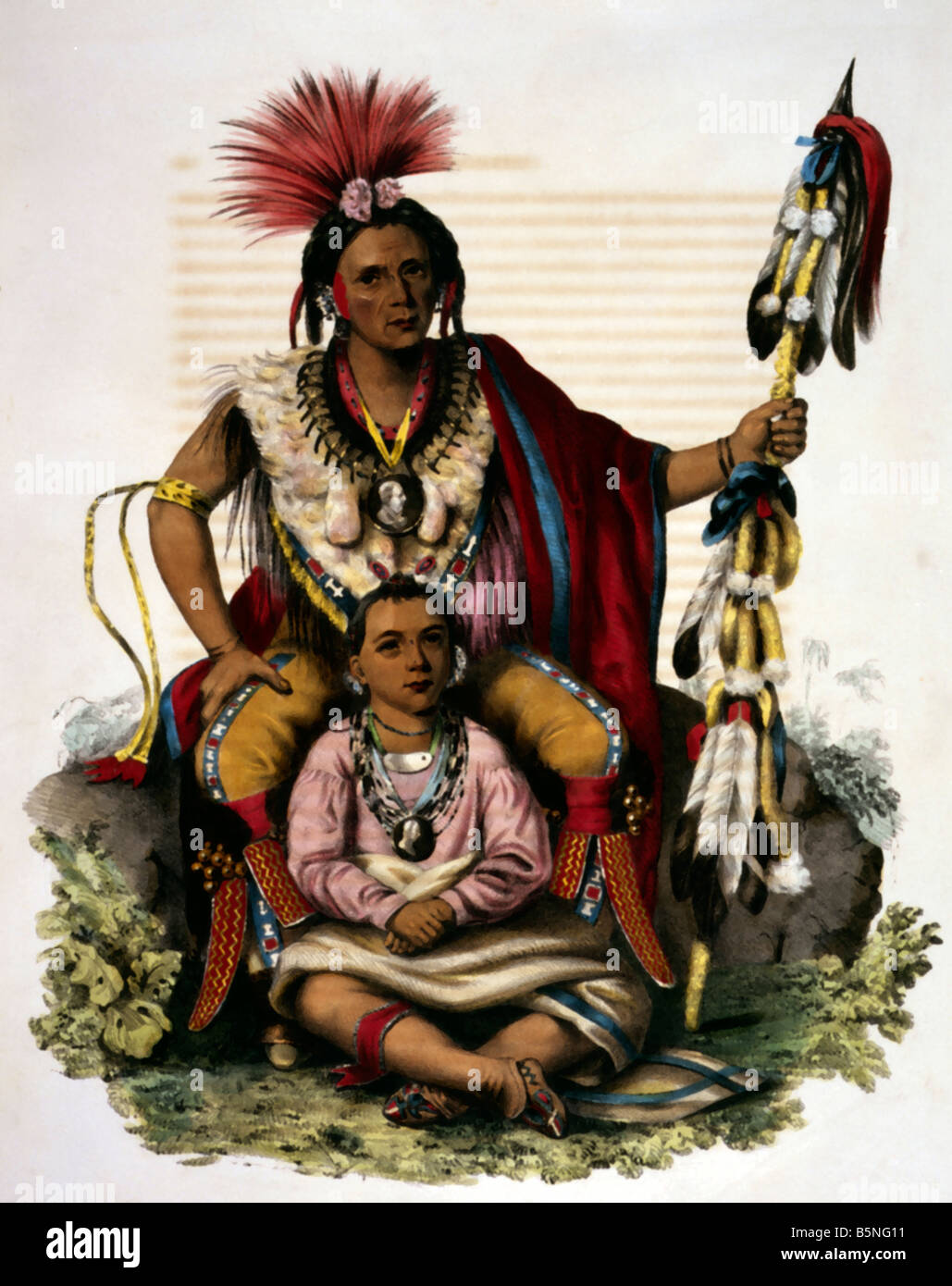 Indian war chief, portrait 1838 Keocuc - Stock Image