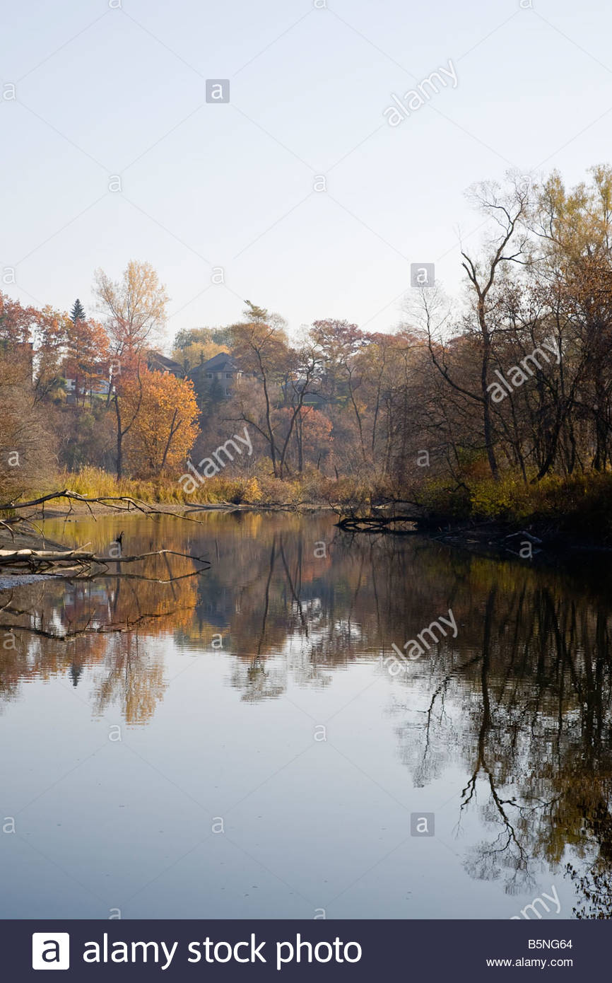 Fall morning on the Rouge River in Rouge Park an urban wilderness in Toronto Ontario Canada Stock Photo